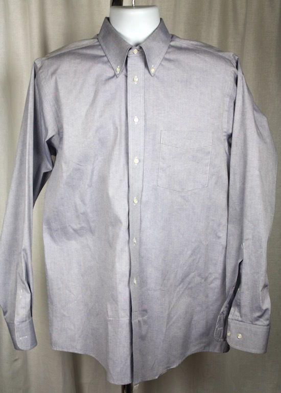 The Arrow Company Mens Blue Button Front Long Sleeve Cotton Blend Shirt 16 34/35 #TheArrowCompany
