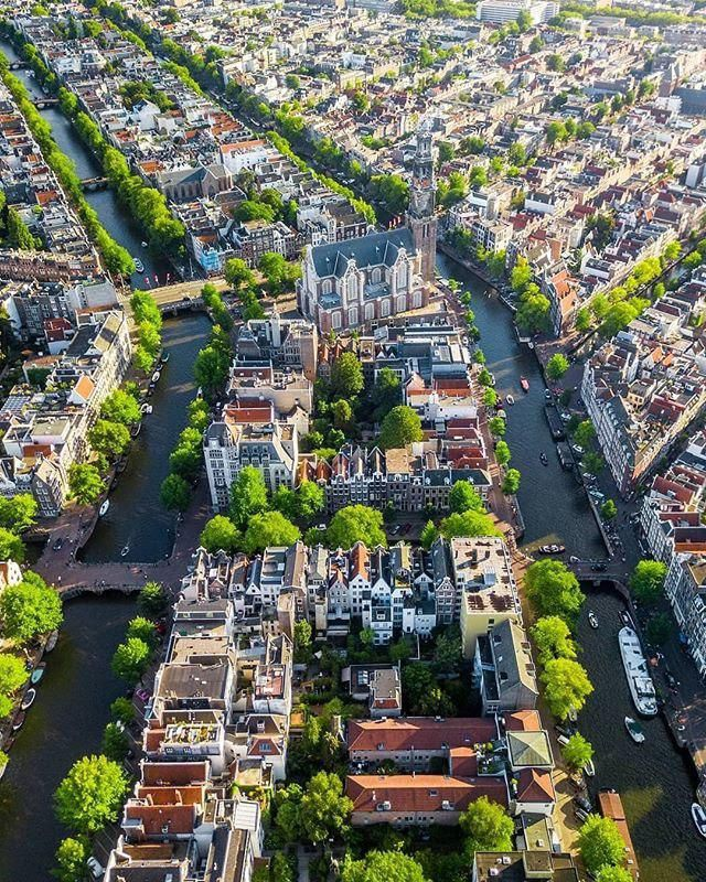 Aerial view ✨ Amsterdam, Netherlands. | Amsterdam travel ...