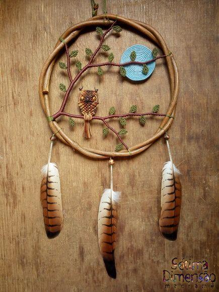 Filtro dos Sonhos Coruja sob a Lua Cheia #setimadimensaomacrame #filtrodossonhos #dreamcatcher #atapasuenos #owl #macrame #moon #tree #coruja #buho #lua #arvore #arbol