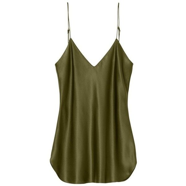 ISABELLA CAMI TOP (4.580 ARS) ❤ liked on Polyvore featuring tops, cami tank top, camisole tank top, green cami, green tank top and silk v neck cami