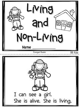 Living and Non Living Emergent Reader and Activities to go