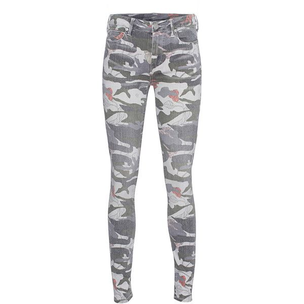 TRUE RELIGION Halle Super Skinny Camo Floral // Patterned skinny jeans (3.430 ARS) ❤ liked on Polyvore featuring jeans, pants, bottoms, skinny leg jeans, mid-rise jeans, denim skinny jeans, true-religion skinny jeans and army green skinny jeans