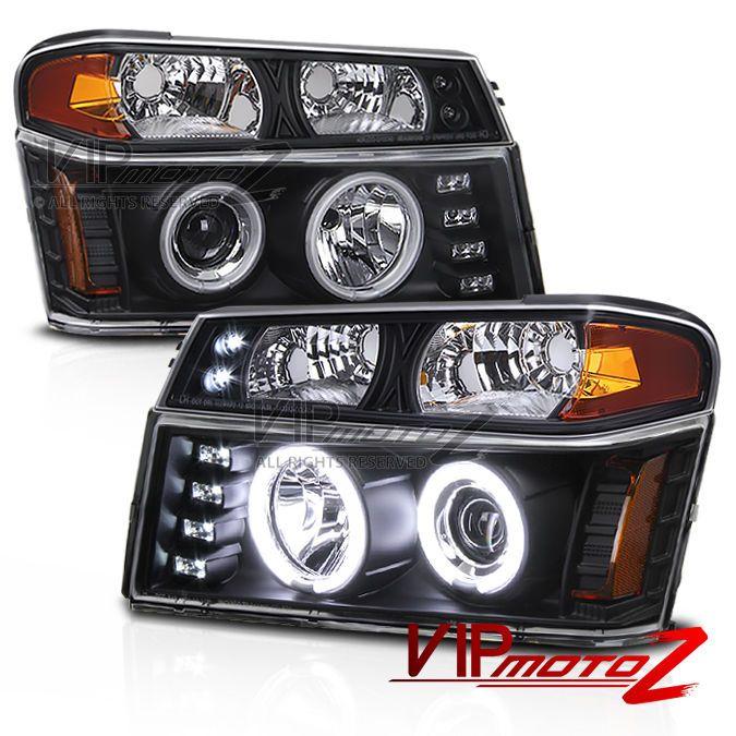 Chevy Colorado 04-12 L+R CCFL Halo Projector Headlight+Black Bumper Parking Lamp #VIPMOTOZ
