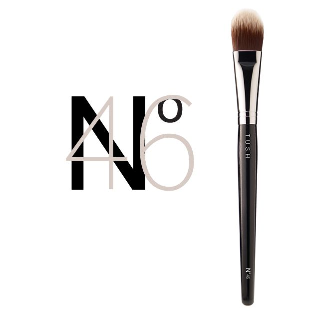 Nr 46 Foundation Brush. A professional expert foundation brush made of synthetic bristles to create a flawless complexion and a perfectly even second skin make up. Available at www.tushbrushes.com