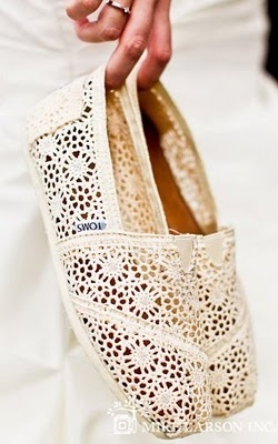 """Crocheted """"Lacey"""" toms... For the reception!"""