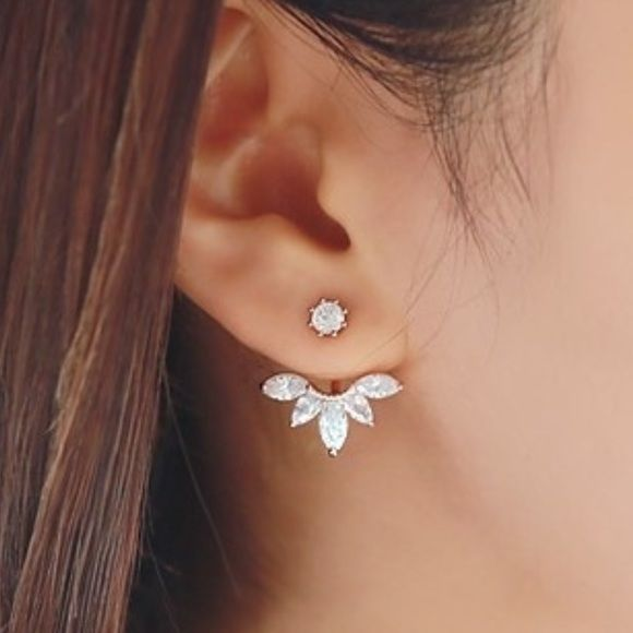 Silver Tone w/ Silver Rhinestones Ear Jacket New with tags ear jacket earrings in silver tone. Jewelry Earrings