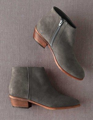 Chic Ankle Boot in Grey Suede. $168 I've been wearing these all fall.