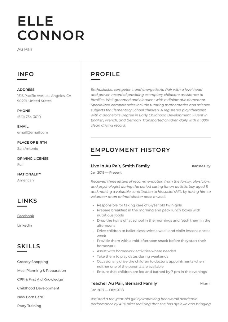 Professional Au Pair Resume, template, design, tips