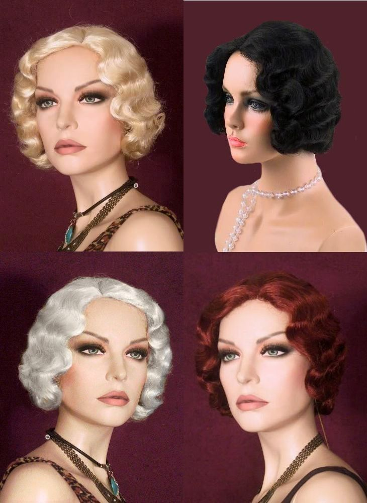 20's 30's Finger Wave~Short Wavy~Harlow Flapper Wig New #NewLookCollection #FullWig $37.98