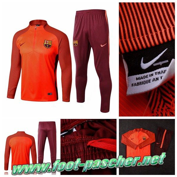 Nouvelle Survetement Nike Homme Pas Cher FC Barcelone Strike Drill Orange 2017/2018 Ensemble