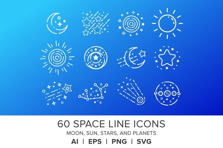 Space Line Icons Set Png Svg Vector Moon Sun Stars Planets Galaxy Comet Solar System Flat Graphics Clip Art Crafts Digital Icons Line Icon Icon Set Icon