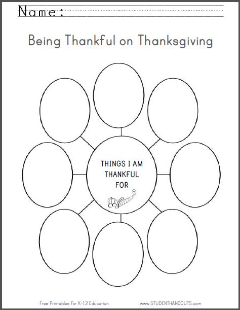 Things I Am Thankful For - Free Printable Thanksgiving Worksheet