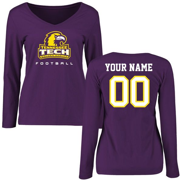Tennessee Tech Golden Eagles Women's Personalized Football Slim Fit Long Sleeve T-Shirt - Purple - $42.99