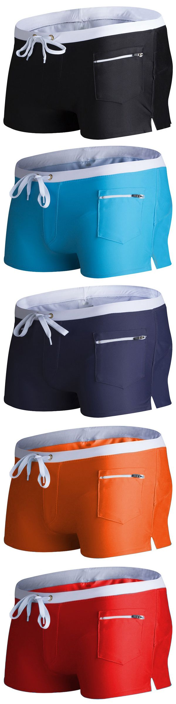 Sexy Swimming Hot Spring Low Waist Zipper Pocket Swim Trunks Beach Shorts for Men
