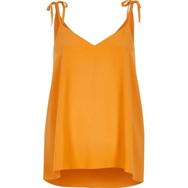 River Island Orange shoulder tie cami ($20) ❤ liked on Polyvore featuring orange, tops, orange camisole, strappy cami, river island and orange cami