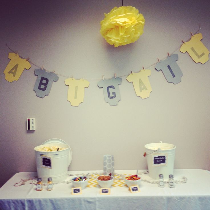 office baby shower with popcorn bar