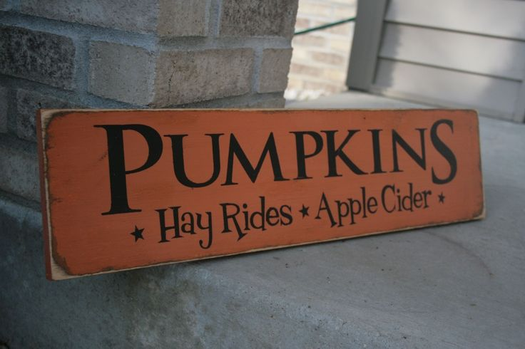 PUMPKINS Hay Rides Apple Cider Handpainted LARGE Wood Sign Plaque Fall Halloween Home Decor Wall Hanging. $25.00, via Etsy.