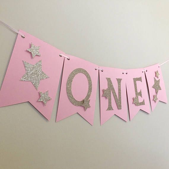 Twinkle Twinkle Little Star Banner pink and gold first