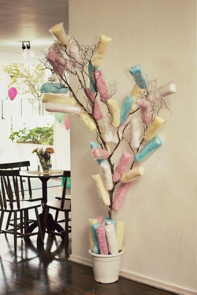 Decoração de festa infantil - árvore de algodão doce