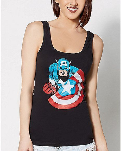 Shield Character Captain America Tank Top - Spencer's