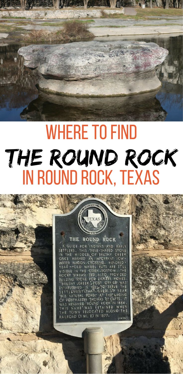 Round Rock Texas was named after literally a Round Rock in the middle of Brushy Creek in Central Texas. Check our where to find The Round Rock in Round Rock.