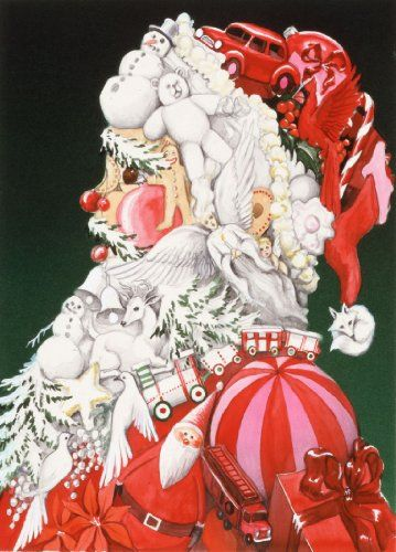 Santa Collage - Arcimboldo's Feast For The Eyes Art Parody Boxed Holiday Cards Easy Street Publications,