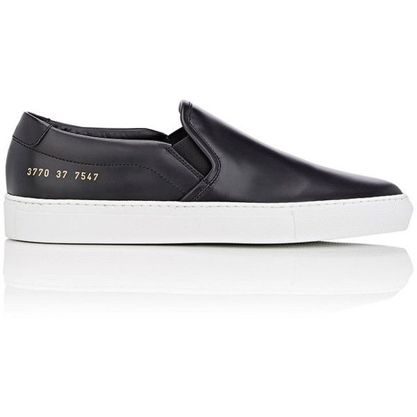 Common Projects Women's Slip-On Sneakers (1.960 HRK) ❤ liked on Polyvore featuring shoes, sneakers, black, rubber sole shoes, slip-on sneakers, round cap, slip on trainers and slip on sneakers