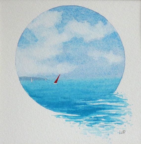 Original watercolour vignette painting summer sailing on the ocean – Margrit Gantenbein