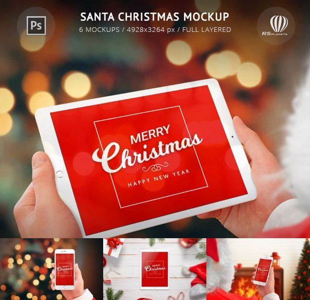 Santa Christmas Mockup is Photoshop PSD full isolated file featuring 6 different mockups ideal for creating Christmas cards and promoting Christmas design.  Isolated layers allow you to add your background images, move Santa hands and devices on the scene as you like. In this way, layers can be animated and made video, or used for the layer slider in your new web project.