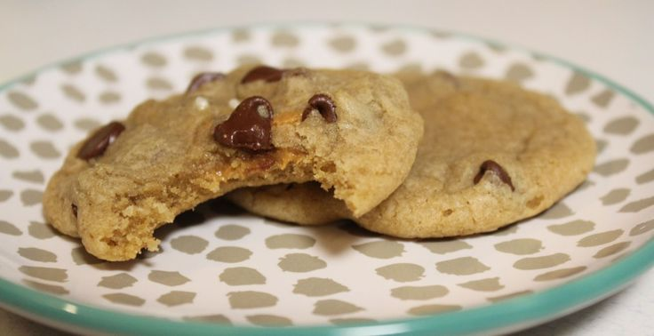 The Perfect Chocolate Chip Cookie - soft and chewy with peanut butter stuffed in the middle! THE BEST