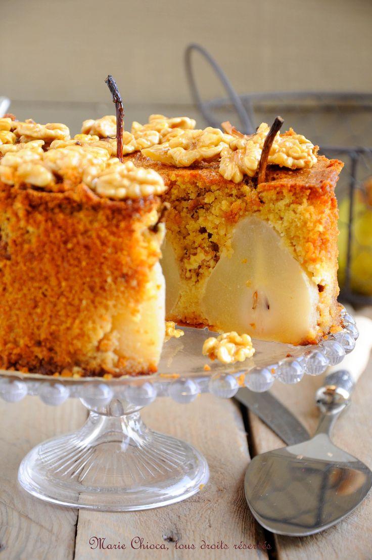 Gâteau moelleux et léger aux poires, vanille et Noix caramélisées au sirop d'agave
