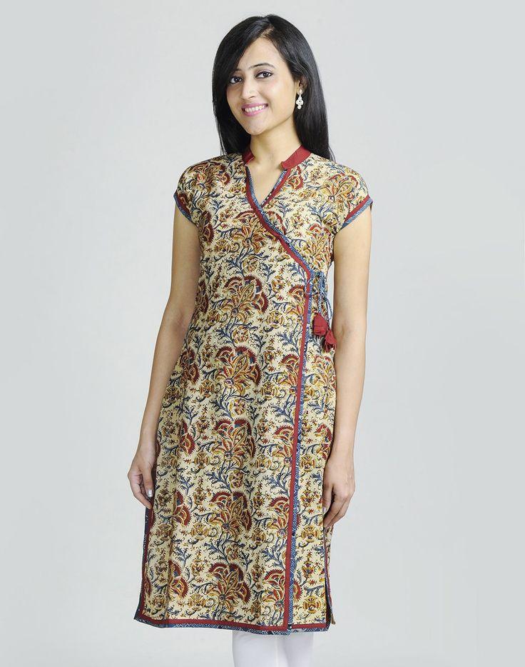 Cotton Kalamkari Ajrak Trim Anghrakha Long Kurta