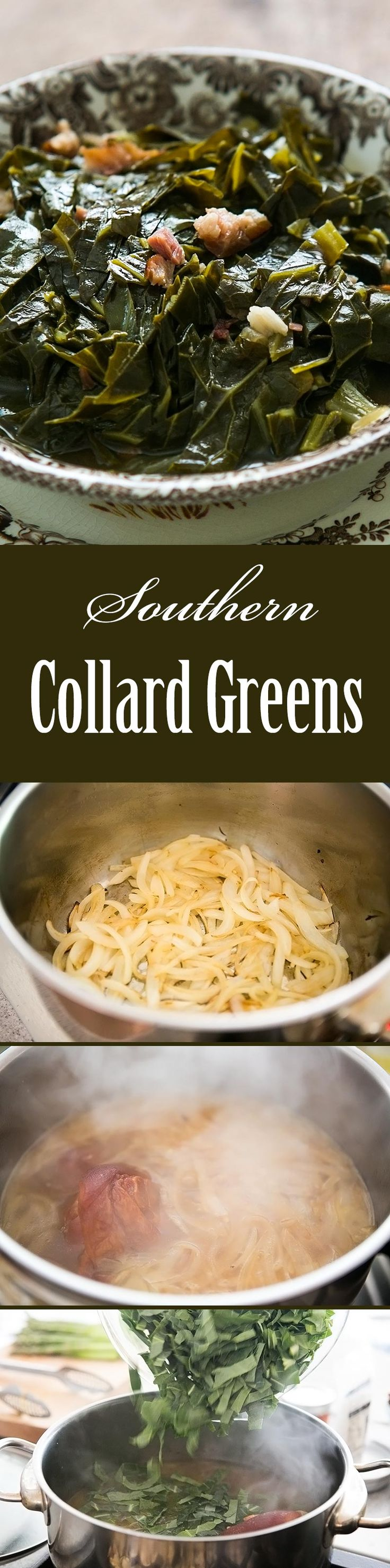 Southern Style Collard Greens! Slow cooked collard greens with a ham hock, onions, vinegar and hot sauce. A classic with BBQ! #Healthy On SimplyRecipes.com | https://lomejordelaweb.es/