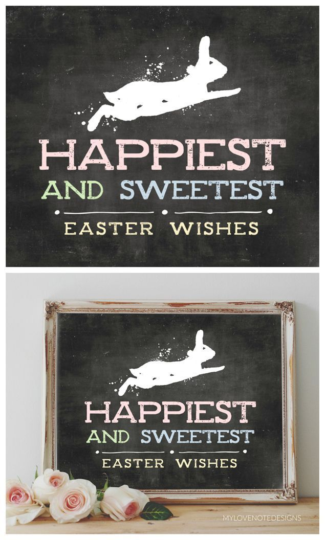 Happiest and Sweetest Easter Wishes   Free Easter Printable Art