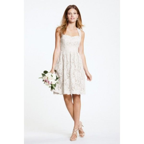Ivory Queen Ann Neckline Bridesmaid Dress With Covered Button - Bridesmaid Dresses - Wedding Dresses
