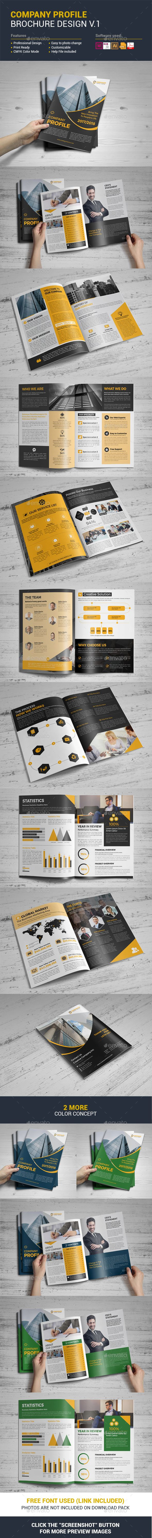 Company Profile Brochure Template Vector EPS, InDesign INDD, AI Illustrator