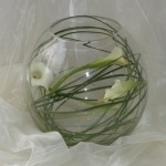 glass bowl vase with lily