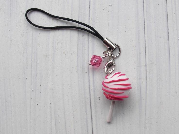 pink zebra cake pop phone strap polymer clay