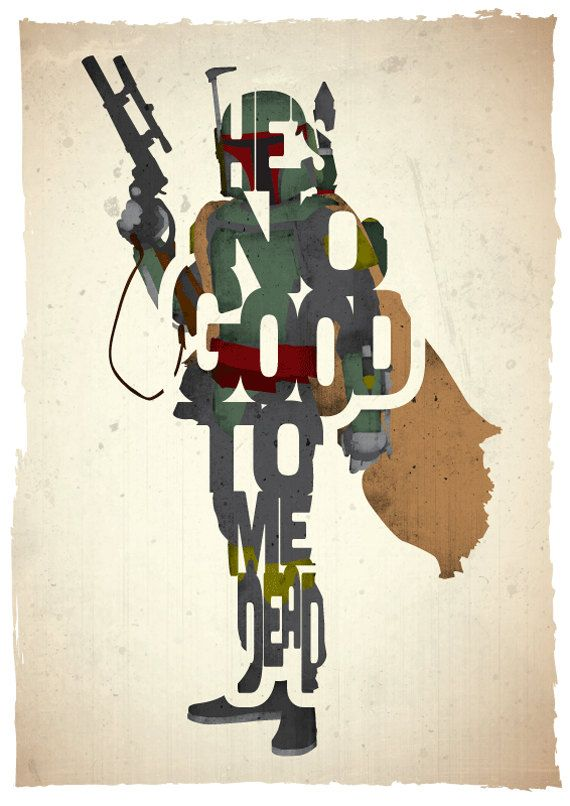 Typographic Star Wars Prints Featuring Iconic Characters and Quotes