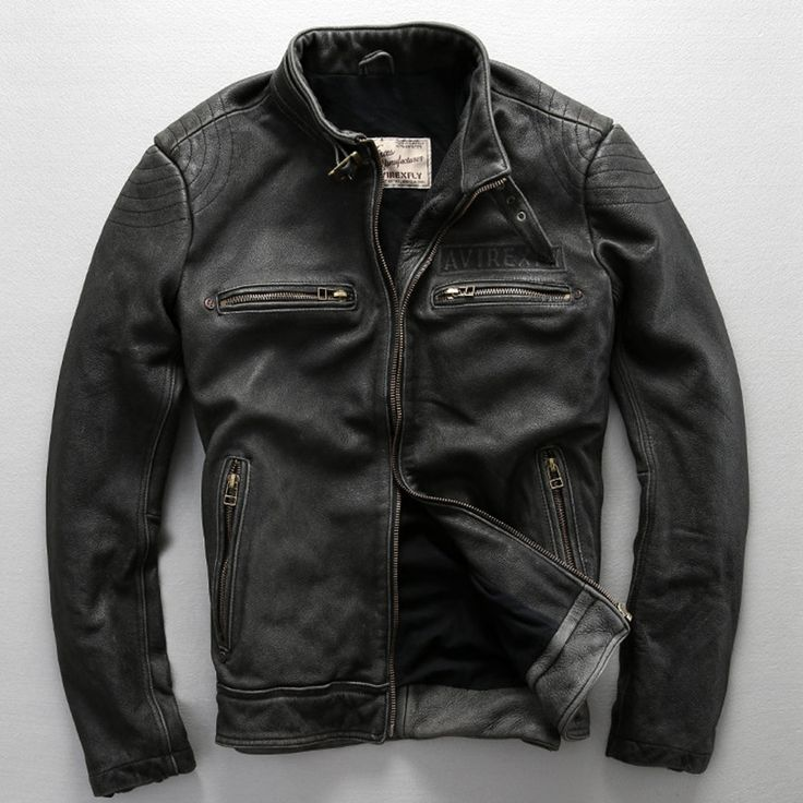 avirex fly pattern genuine leather jacket men harley style black cowskin motorcycle jacket slim biker jacket leather coats male