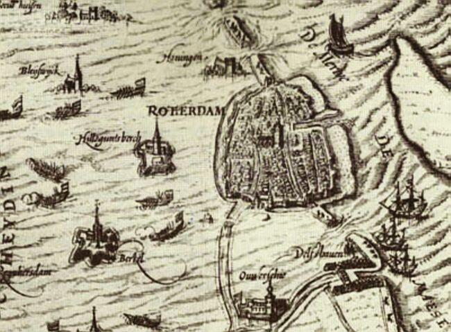 De omgeving van Rotterdam onder water i.v.m. het Ontzet van Leiden (1574)