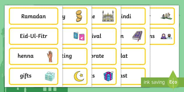 Eid Topic Word Cards A Set Of Colourful Word Cards Four Per A4