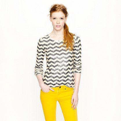 Zigzag sequin tee-JCrew  Seriously love it!: Yellow Jeans, Sequins Tees, Zigzag Sequins, Sequins Chevron, Bright Color, Tees Jcrew, Sequins Tops, Crew Zigzag, Chevron Sequins