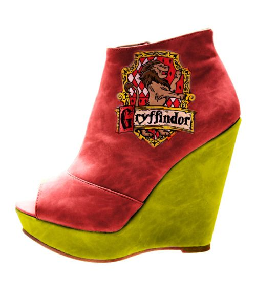Gryffindor Wedges want a pair for my house{Hufflepuff} http://lonely-soles.tumblr.com/tagged/harry-potter-fashion