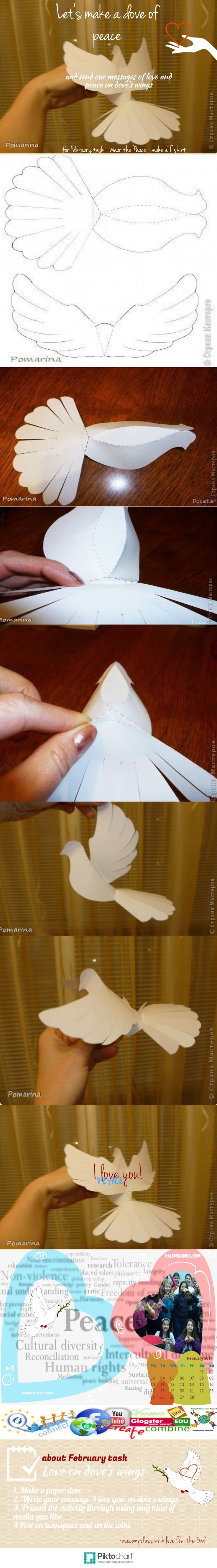 Let's make a dove of peace! February activity - eTwinning peace project   #infographic made in @Piktochart