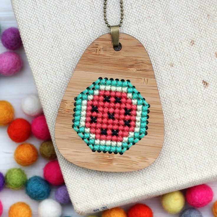 Fruity Watermelon / Bamboo Embroidered Necklace Kit / Modern Embroidery Kit / DIY Cross Stitch Delicious Summer Fruit by ClementineAndThread on Etsy