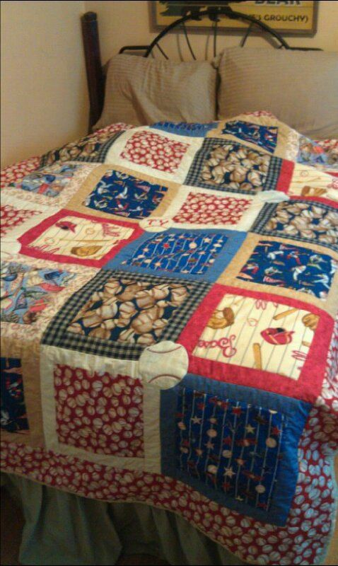 Personalized baseball Twin size quilt by DarlinStitches on Etsy, $300.00