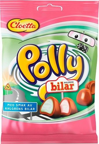 Polly Bilar (Cars) is a new Polly bag visited by Ahlgrens bilar. The exterior consists of bright Polly Milk Chocolate and the inside of the unique flavors and colors from Ahlgren bilar.