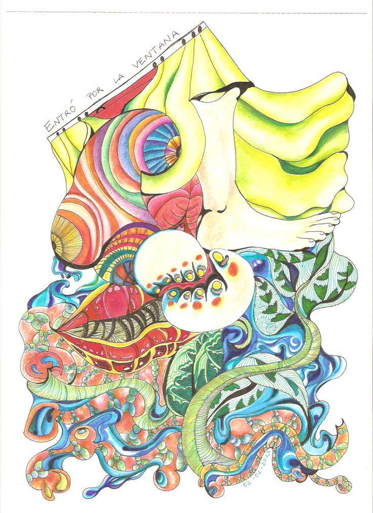 """""""Entró por la ventana"""" 2012, dibujo tinta y rotuladores."""