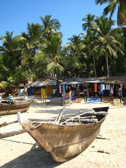 Palolem Beach, Goa India...only huts and bamboo bungalows